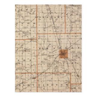 Mapa del condado de Johnson Tarjeta Postal