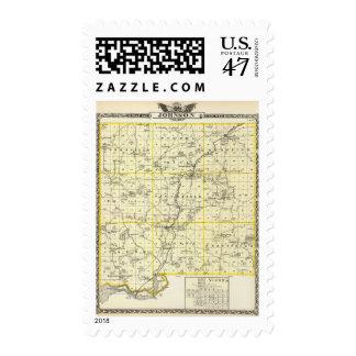 Mapa del condado de Johnson y de Viena Timbres Postales