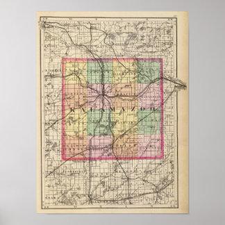 Mapa del condado de Kalamazoo, Michigan Posters
