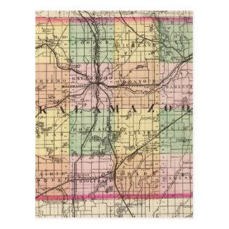 Mapa del condado de Kalamazoo, Michigan Postales