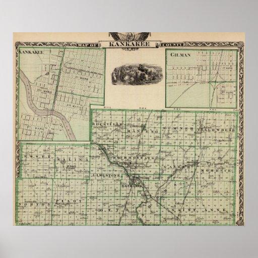 Mapa del condado de Kankakee, de Kankakee y de Gil Póster