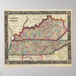 Mapa del condado de Kentucky, y de Tennessee Impresiones