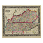 Mapa del condado de Kentucky, y de Tennessee Póster