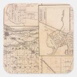 Mapa del condado de Lake con Lowell Pegatina Cuadrada