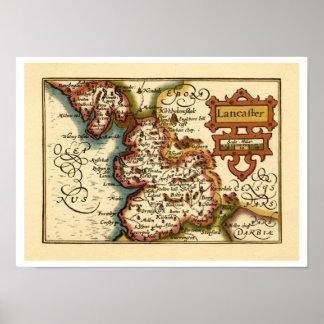 """Mapa del condado de """"Lancaster"""" Lancashire Póster"""