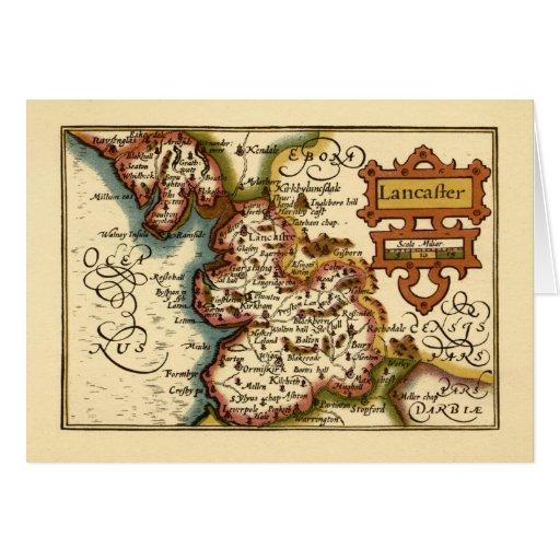 """Mapa del condado de """"Lancaster"""" Lancashire Tarjeta"""