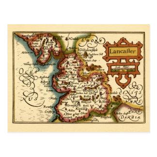 "Mapa del condado de ""Lancaster"" Lancashire Tarjetas Postales"