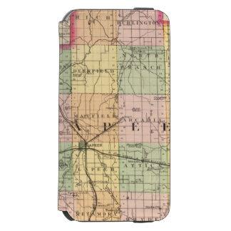 Mapa del condado de Lapeer, Michigan Funda Billetera Para iPhone 6 Watson