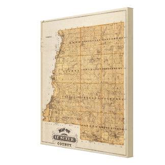 Mapa del condado de Le Sueur Minnesota Impresiones En Lienzo Estiradas