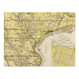 Mapa del condado de Lee y Montrose, estado de Iowa Postales