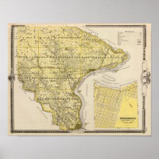 Mapa del condado de Lee y Montrose, estado de Iowa Póster
