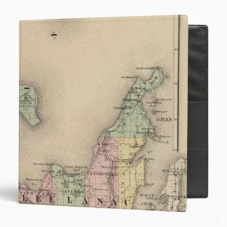 """Mapa del condado de Leelanau, Michigan Carpeta 1 1/2"""""""