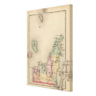 Mapa del condado de Leelanau, Michigan Impresión En Lienzo