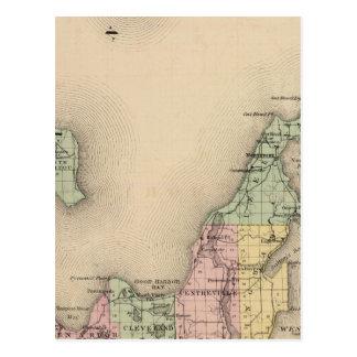 Mapa del condado de Leelanau, Michigan Postales