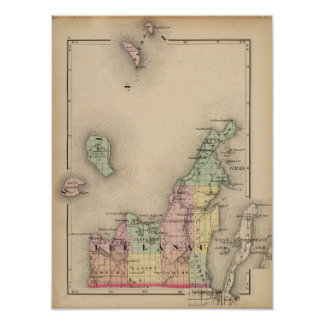 Mapa del condado de Leelanau, Michigan Póster