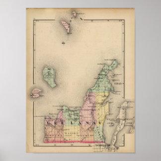 Mapa del condado de Leelanau, Michigan Posters