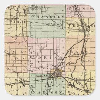 Mapa del condado de Lenawee, Michigan Pegatina Cuadrada