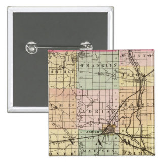 Mapa del condado de Lenawee, Michigan Pin Cuadrado