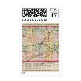 Mapa del condado de Lenawee, Michigan Sellos Postales