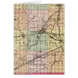 Mapa del condado de Lenawee, Michigan Tarjeta De Felicitación