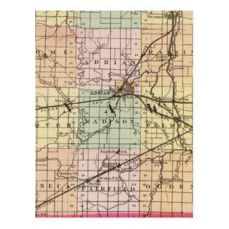 Mapa del condado de Lenawee, Michigan Tarjeta Postal