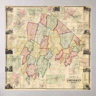 Mapa del condado de Lincoln 1857 Impresiones