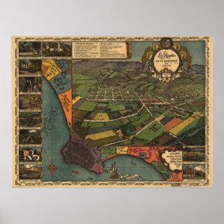 Mapa del condado de Los Angeles, opinión del Pájar Poster
