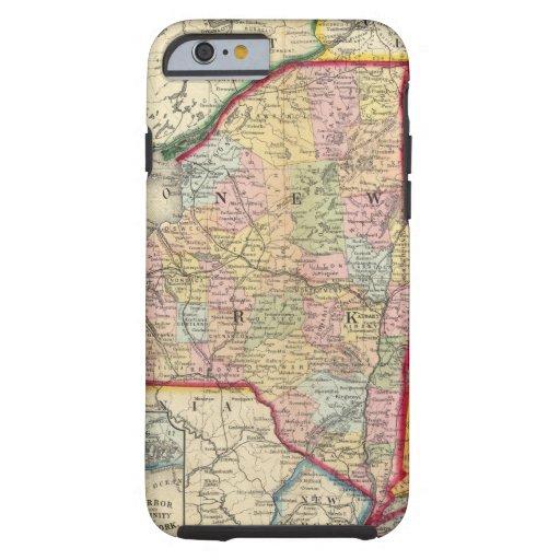 Mapa del condado de los estados de Nueva York Funda Para iPhone 6 Tough