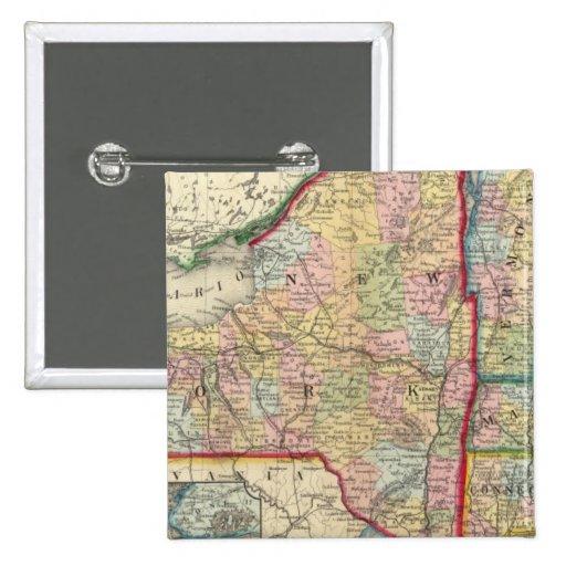 Mapa del condado de los estados de Nueva York Pin Cuadrado