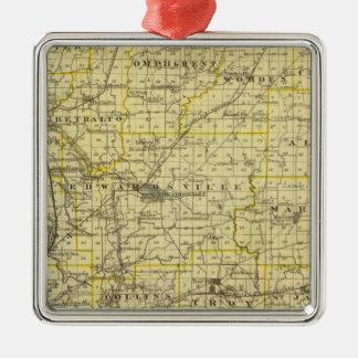 Mapa del condado de Madison Adorno Cuadrado Plateado