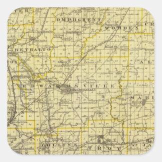 Mapa del condado de Madison Pegatina Cuadrada
