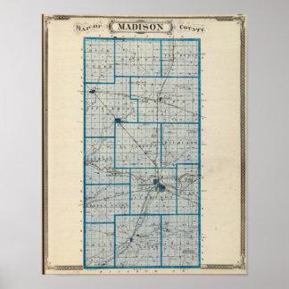 Mapa del condado de Madison Póster