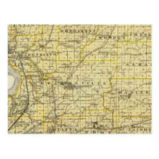 Mapa del condado de Madison Tarjetas Postales