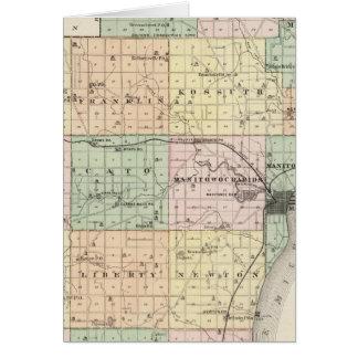 Mapa del condado de Manitowoc, estado de Wisconsin Tarjeta