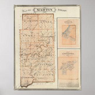 Mapa del Condado de Martin con los bajíos, Loogoot Impresiones