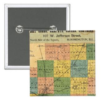 Mapa del condado de McLean, Illinois 1886 Pin Cuadrada 5 Cm