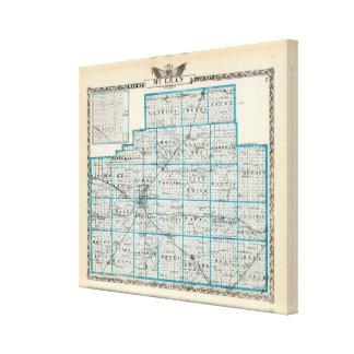 Mapa del condado de McLean y de Le Roy Impresiones En Lienzo Estiradas