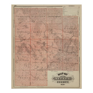 Mapa del condado de Meeker, Minnesota Poster