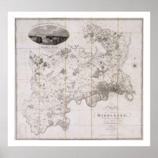Mapa del condado de Middlesex, publicado 1819 (ban Póster