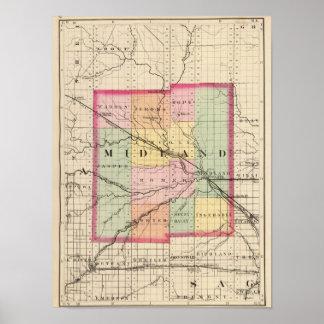 Mapa del condado de Midland, Michigan Póster