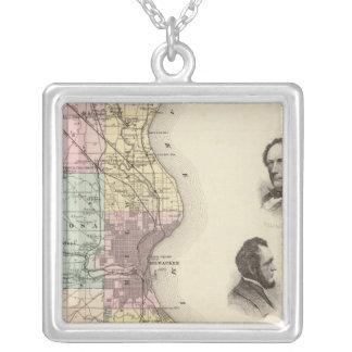 Mapa del condado de Milwaukee, estado de Wisconsin Collares Personalizados