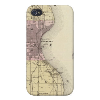 Mapa del condado de Milwaukee, estado de Wisconsin iPhone 4 Cárcasa