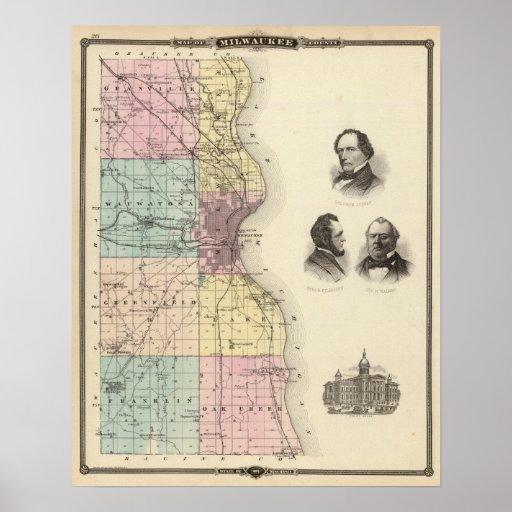 Mapa del condado de Milwaukee, estado de Wisconsin Posters