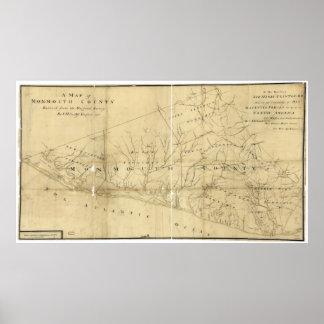 Mapa del condado de Monmouth New Jersey (1781) Póster