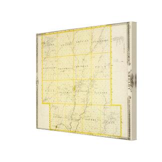 Mapa del condado de Monona, estado de Iowa 2 Lienzo Envuelto Para Galerias