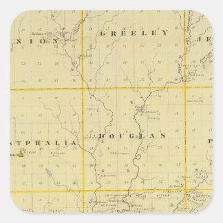 Mapa del condado de Monona, estado de Iowa Calcomanía Cuadrada