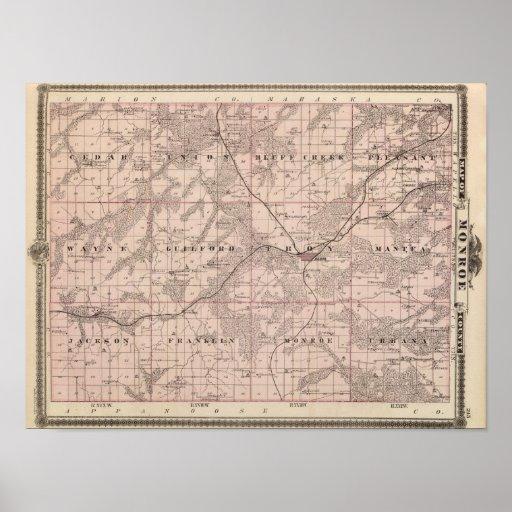 Mapa del condado de Monroe, estado de Iowa Impresiones