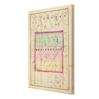 Mapa del condado de Montmorency, Michigan Impresion De Lienzo