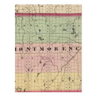 Mapa del condado de Montmorency, Michigan Postales