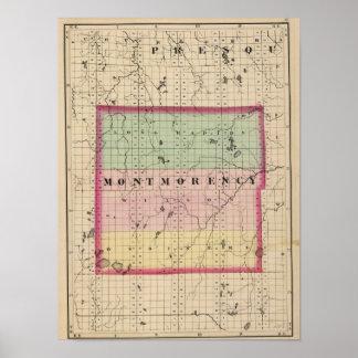 Mapa del condado de Montmorency, Michigan Póster